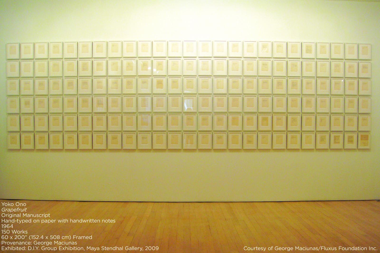 Notes On Yoko Ono Grapefruit Original Manuscript 1964 Fluxus Foundation
